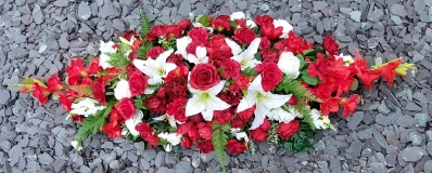 Red and White Coffin Spray