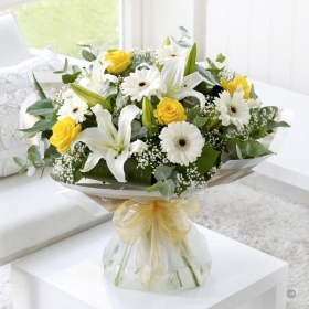 Lemon and White Sympathy Hand tied