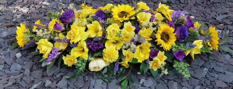 Yellow Purple 5 Ft Coffin Spray Buy Online Or Call 01978 357356