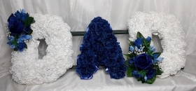 Dad tribute (blue & white with corsage)