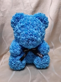 13 inch Blue floral Teddy with presentation box
