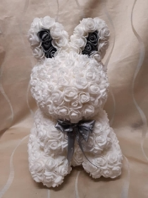 13 inch White floral bunny with presentation box