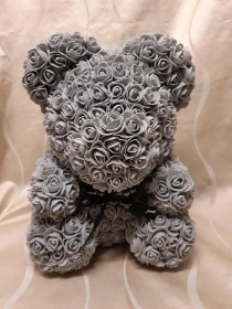 13 inch grey floral teddy in presentation box