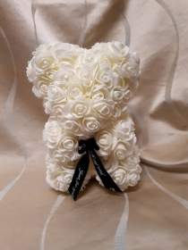9 inch white rose floral bear