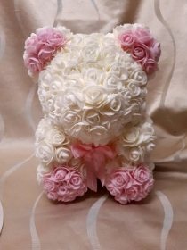 11 inch white and pink rose floral bear