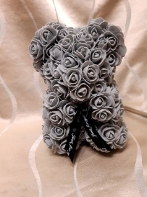9 inch grey rose floral bear