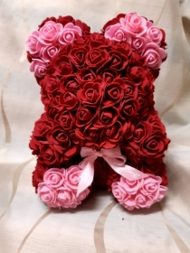 30 cm Burgandy and pink rose floral bear