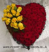 Red Rose heart with Yellow rose spray