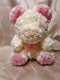 13 inch white and pink rose floral bear in presentation box