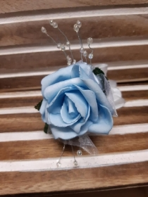 baby blue rose wrist corsage