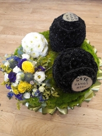 bowling bowls tribute with corsage