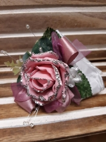pink glittered rose with pink detail wrist corsage