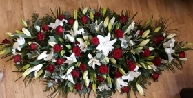 Red rose and white lily 5 ft coffin spray